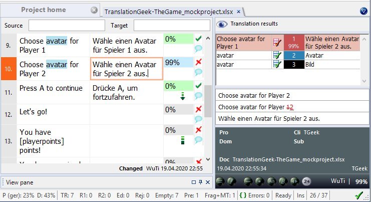 View of memoQ translation window