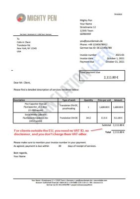 Invoice from Germany to non-EU country